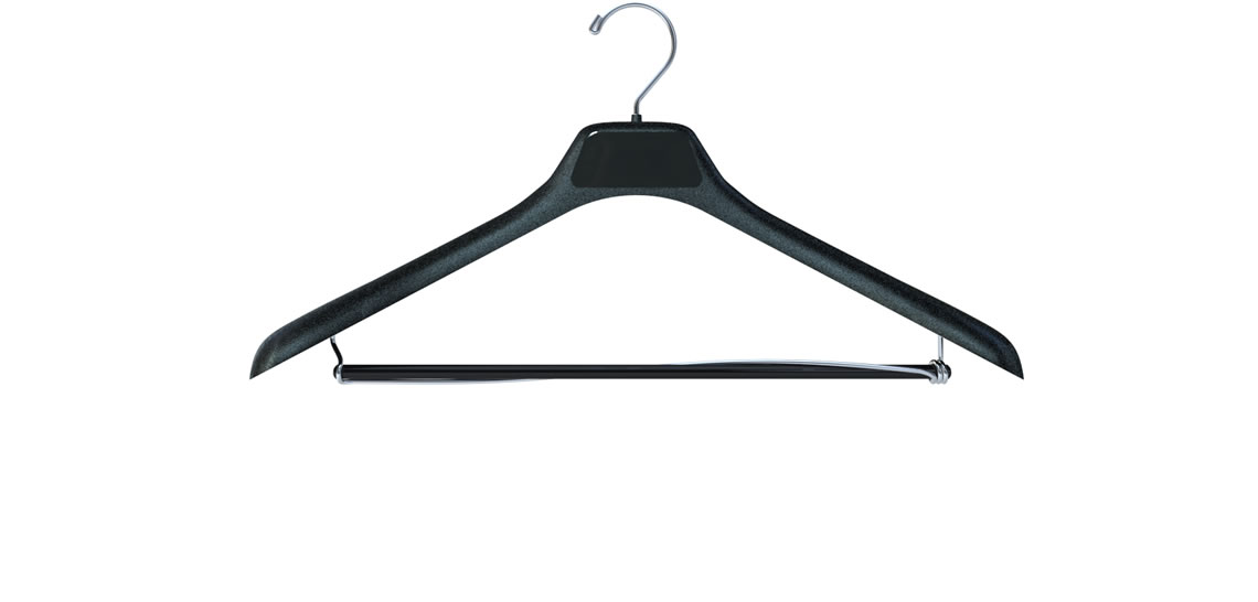 Plastic Suit Hanger with Wooden Bar